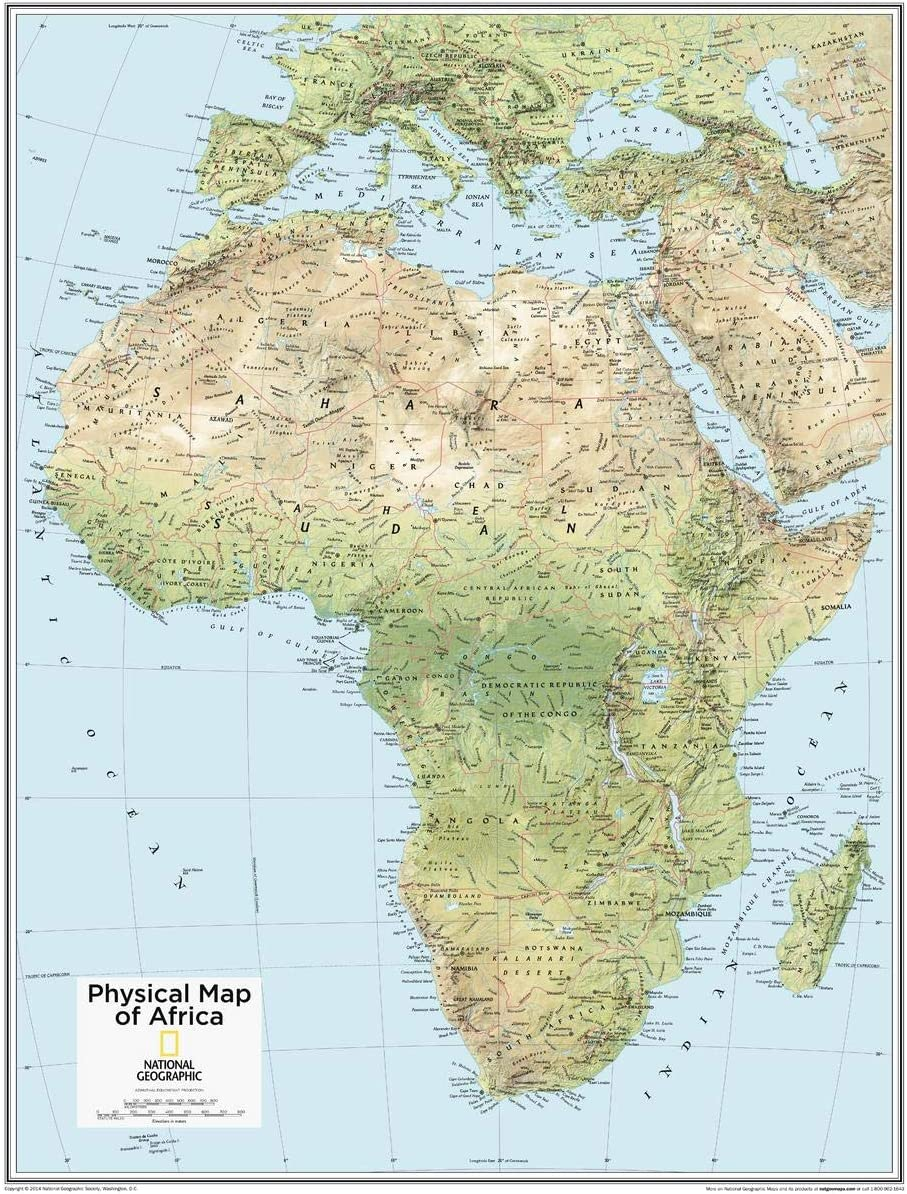 National Geographic: Africa Physical Wall Map x 22 28 specialty Now on sale shop inches -