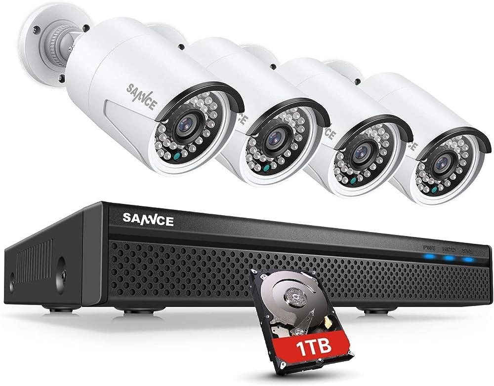 Sannce poe dc 48v kit videosorveglianza 5mp nvr con 1tb disco rigido installato h.264+ 8 canali + 4 AE-N481YA1-34BY-P#IT