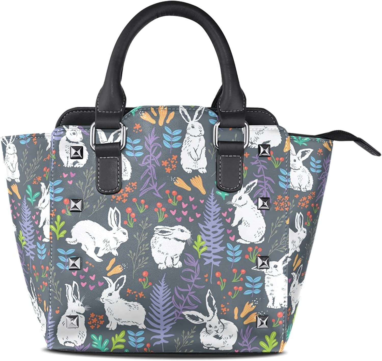 My Little Nest Women's Top Handle Satchel Handbag White Bunnies Floral Ladies PU Leather Shoulder Bag Crossbody Bag