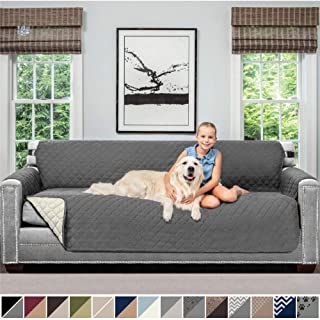 Sofa Shield Original Patent Pending Reversible X-Large Sofa Protector for Seat Width up to 78 Inch, Furniture Slipcover, 2 Inch Strap, Couch Slip Cover Throw for Pets, Kids, Cats, Sofa, Charcoal Linen