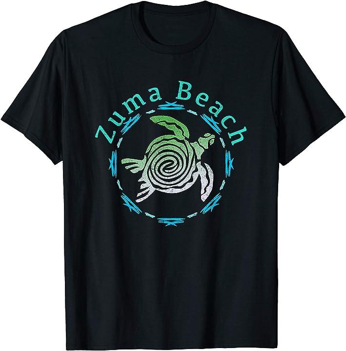 Zuma Beach T-Shirt Vintage Tribal Turtle Gift TShirt