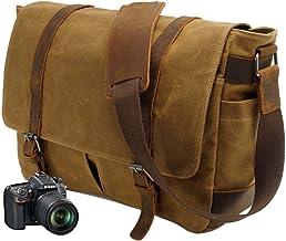 Neuleben Vintage Wasserdicht Kameratasche Aktentasche herausnehmbar Kamerafach Canvas Leder Umhängetasche Fototasche für DSLR Objektiv Laptopfach Update Braun