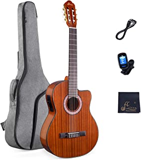 WINZZ 39 Inches Cutaway Nylon-string Classical Electric Guitar Build-in Pickup Kit Set