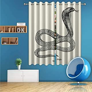 ALUONI Egyptian Cobra Snake Digital Art Print Polyester Window Curtains,136657 for Bedroom,72 inch Wide x 63 inch high