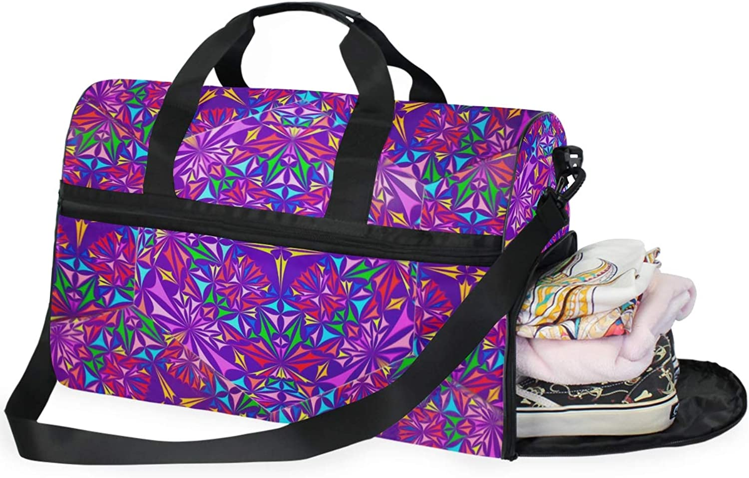 MONTOJ Abstract Print Oversized Canvas Travel Tote Duffel Shoulder Overnight Weekend Bag