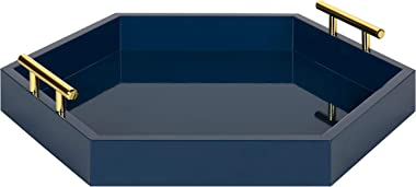 Kate and Laurel Lipton Hexagon Decorative Tray with Polished Metal Handles, Navy Blue and Gold