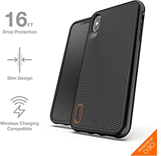 Gear4 Battersea Hardback Phone Case with Advanced Impact Protection [ Protected by D3O ], Glass Back Protection, Compatible with iPhone XS Max - Black