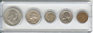 1948 BIRTH YEAR COIN SET, 5 COINS TOTAL- SILVER HALF DOLLAR, SILVER QUARTER, SILVER DIME, NICKEL, AND CENT- ALL DATED 1948 AND DISPLAYED IN A PLASTIC HOLDER--NOTE--THESE COINS WILL BE AS GOOD OR BETTER THEN THE PICTURE--DON'T ACCEPT ANYTHING LESS