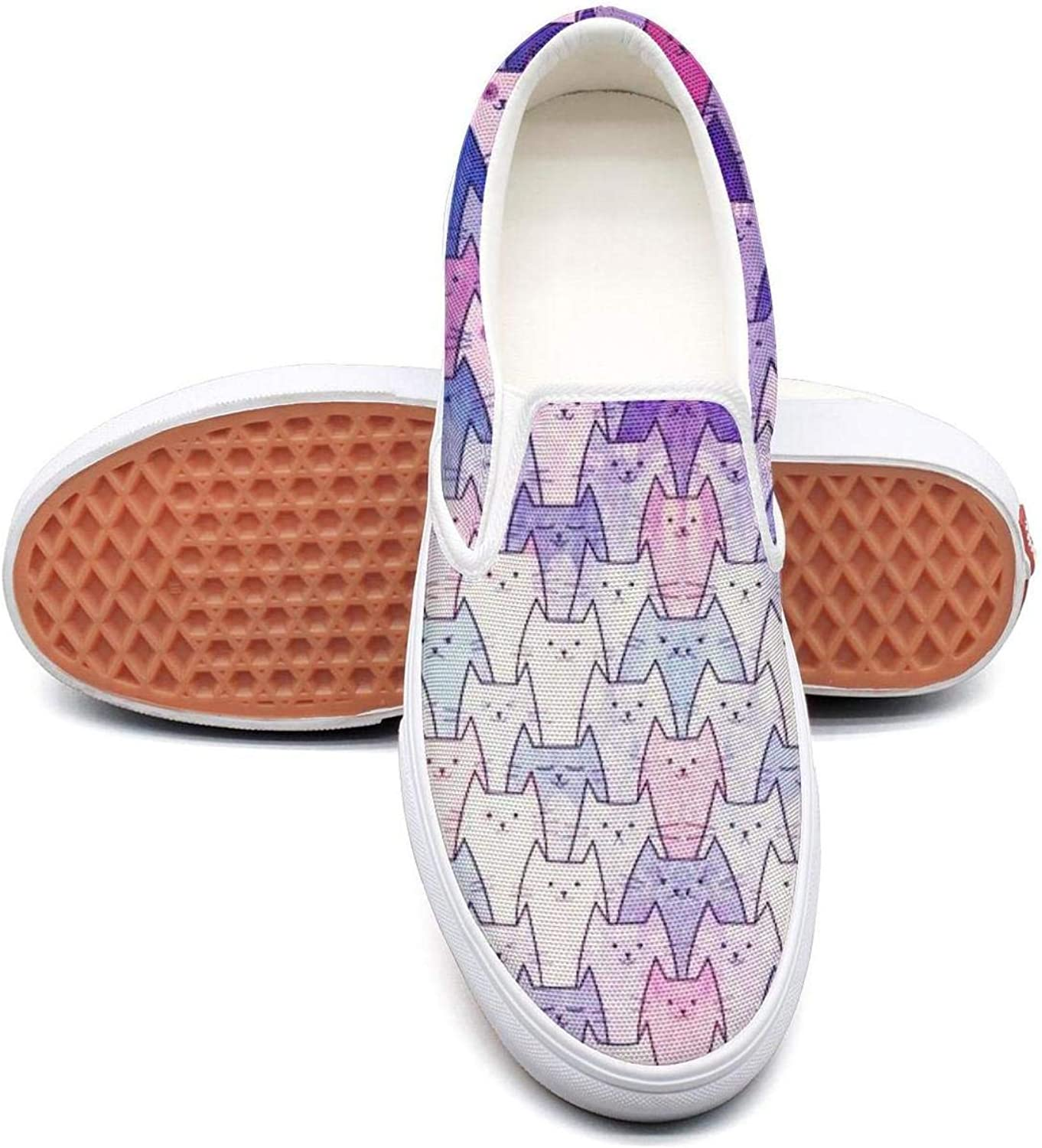 Dutte Lisa Women's Whiskers Cat Faces Casual shoes Laces Low Canvas Slip on Sneakers