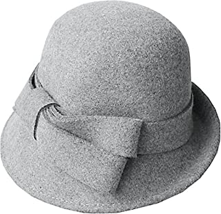 94f169e2018 Bellady Women Solid Color Winter Hat 100% Wool Cloche Bucket with Bow Accent