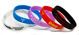 5X DNR Please Do Not Resuscitate Wristband Small Medical Awareness Alert Bracelet Red, Black, Purple, Blue, Glow in The Dark
