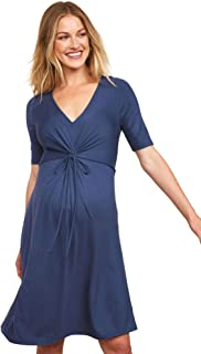 Women's Maternity Elbow Sleeve V-Neck Knot Front A-line...