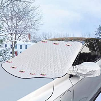 Car Windshield Snow Cover Ice Removal Sun Shade Frost Guard Winter Windshield Snow Ice Cover Magnetic Edges Car Windshield Protector for Car Trucks Vans and SUVs Stop Scraping with a Brush or Shovel: image