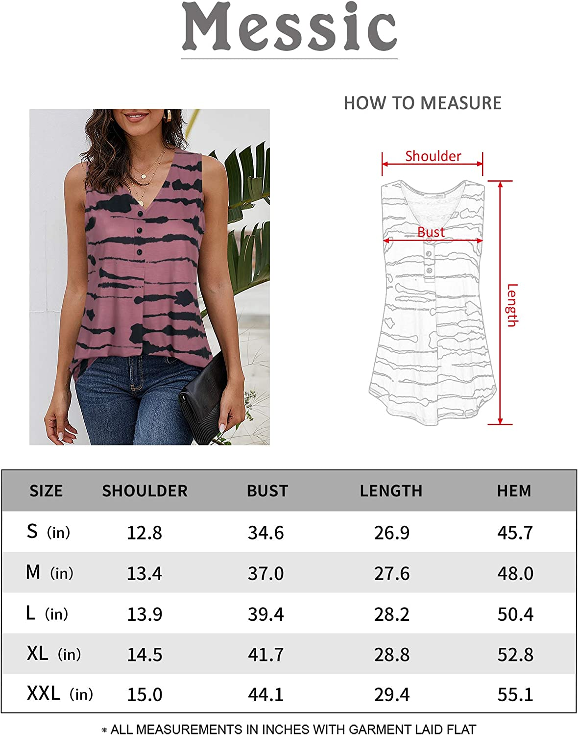 Messic Womens V Neck Tank Tops Sleeveless Button Up Striped Shirts Top