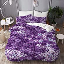 KUDOUXIA Flower Lilac Flowers Blossoms in Spring Romantic Meadow Happy Fun Countryside Print Decorative Bedding Set 1 Duvet Cover with 2 Pillow Cases King
