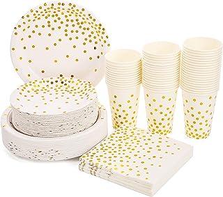 Blanches et Or Vaisselle Jetable de Fête 200PCS Assiettes en Papier Tasses de 12oz Serviettes Set pour Douche Nuptiale, An...