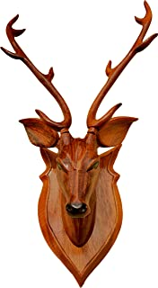 """BK ART & CRAFTS-Home Decor Item """"Deer Head""""42 cm high with Horn – Wooden Handicraft showpieces Product for Wall Decoratio..."""