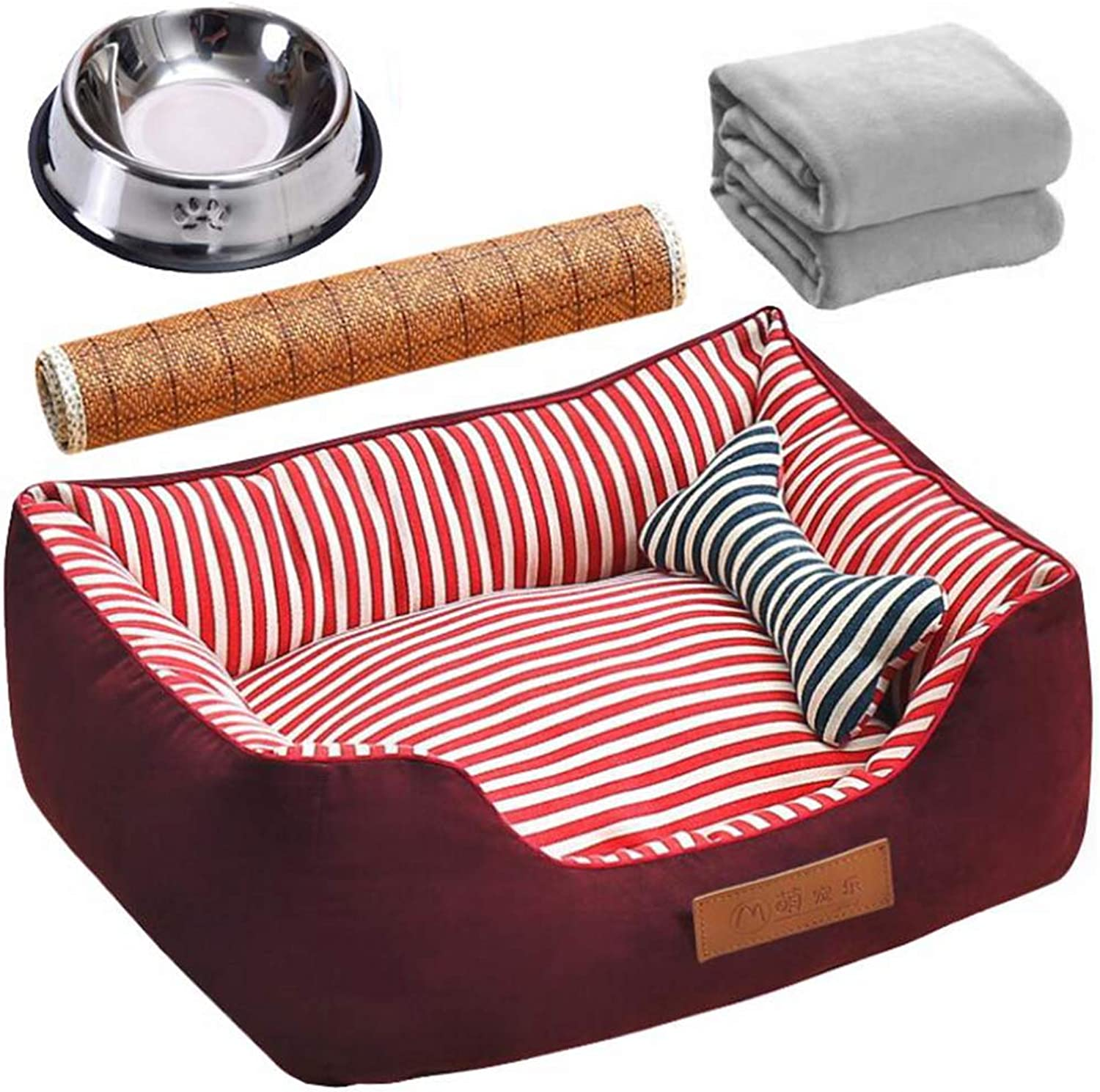 CUUYQ Soft pad Deluxe pet beds, Cozy Nonslip Dog & cat beds Pet Cushion Washable Pet Bed for Dogs & Cats,color C_XL
