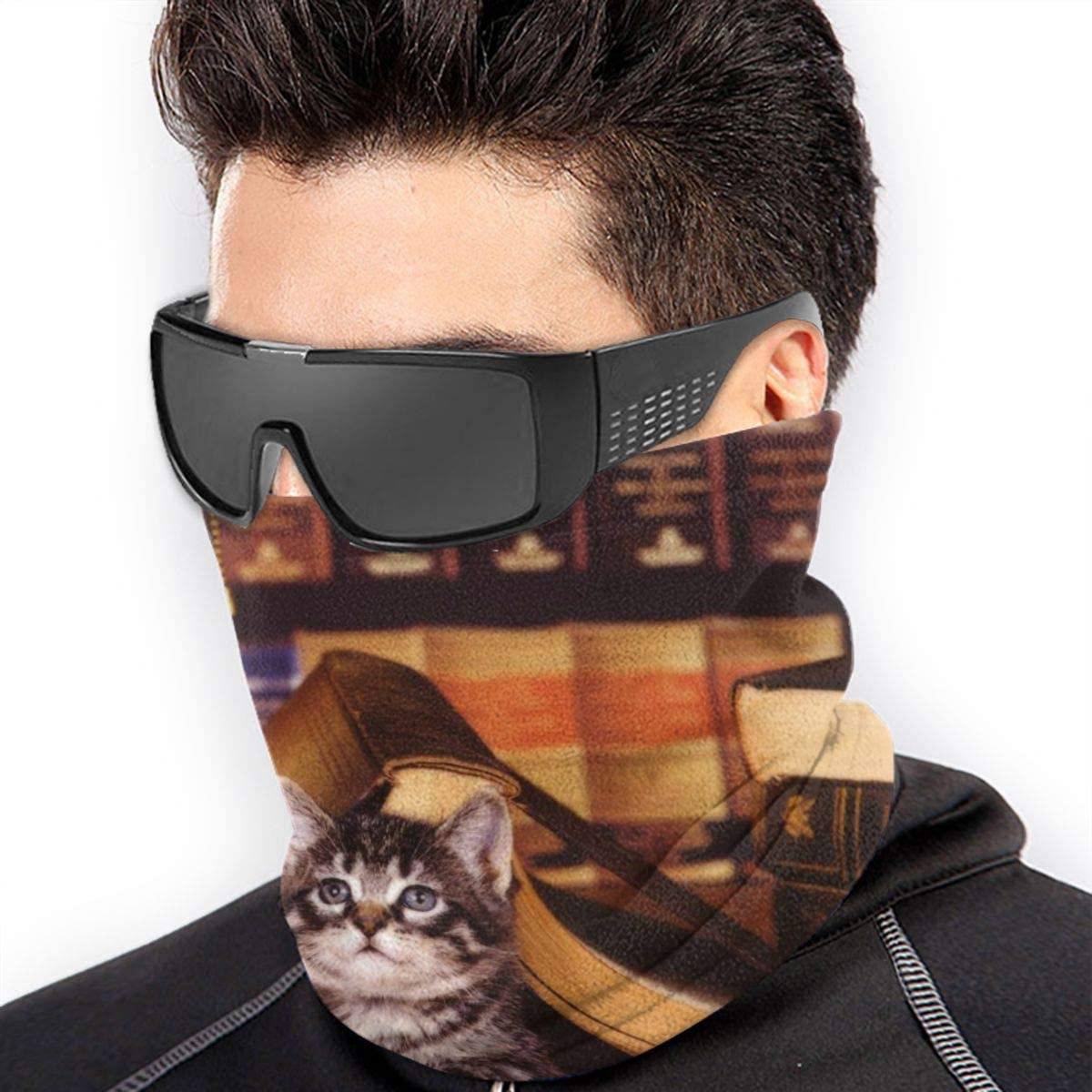 Bookish Kitten Neck Gaiter Headwear Headband Head Wrap Scarf Mask Neck/Ear Warmers Headbands Perfect For Winter Fishing, Hiking, Running, Motorcycle Etc& Daily Wear For Men And Women