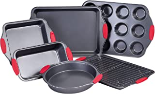 Nuovoo 7 Piece Baking Pan Set Non-Stick Carbon Steel Bakeware Set with Red Silicone Handles, Cookie Sheet, Loaf Pan, Muffi...
