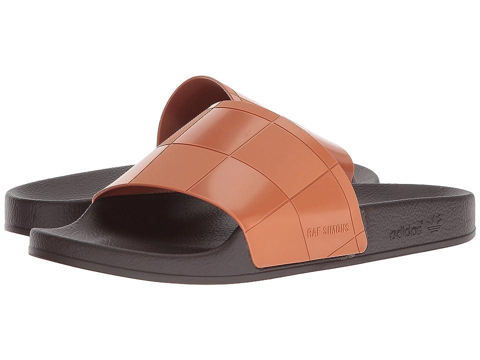 Image of adidas by Raf Simons Adilette Checkerboard (Dark Brown/Dark Brown/Brown) Men's Shoes