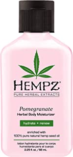 Hempz Pomegranate Herbal Body Moisturizer 2.25 oz.- Paraben-Free Lotion and Moisturizing Cream for All Skin Types, Anti-Aging Hemp Skin Care Products for Women and Men - Hydrating Gluten-Free Lotions