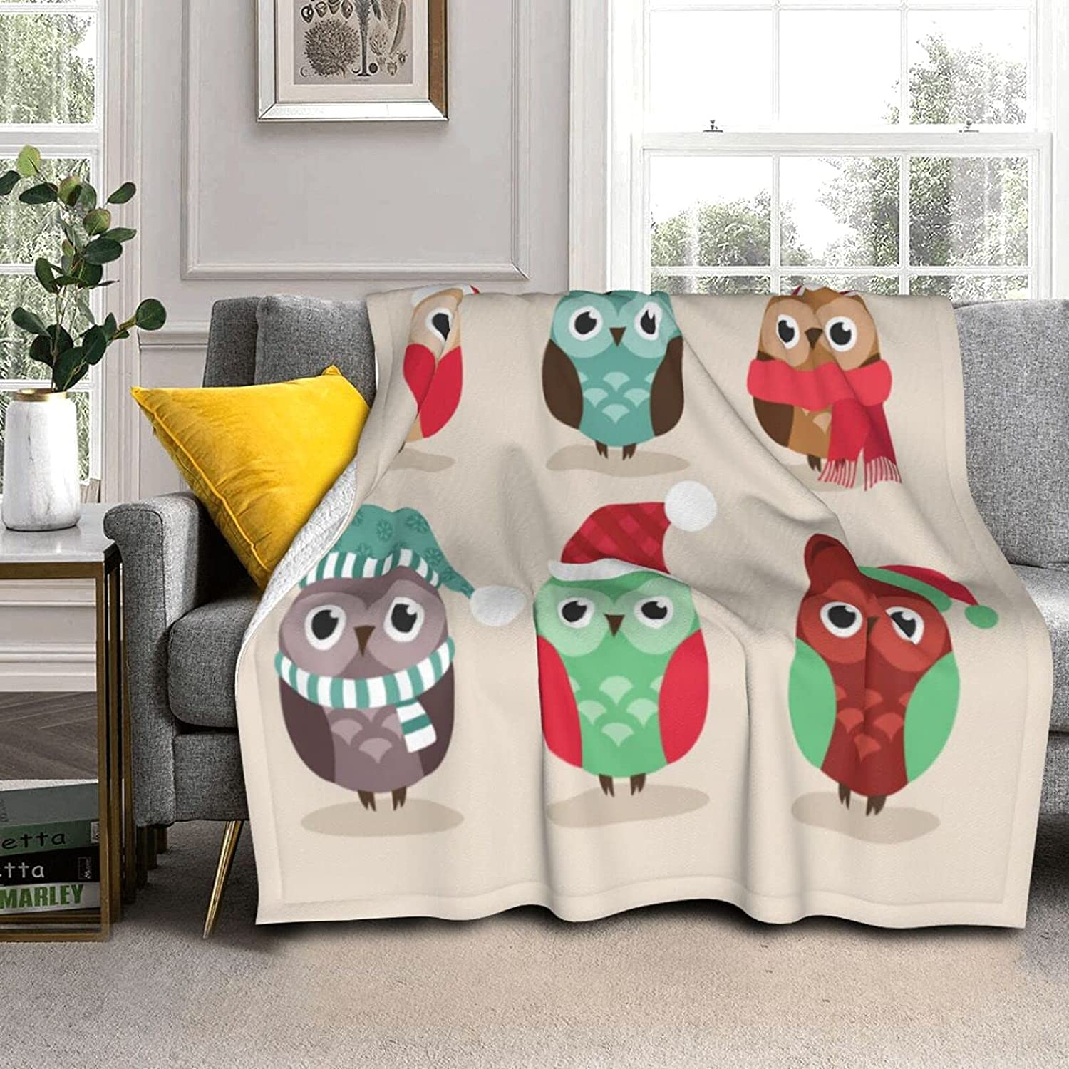 Cute Christmas Owls Cozy Soft with Reversible Fleece SALENEW very Max 90% OFF popular Blanket She