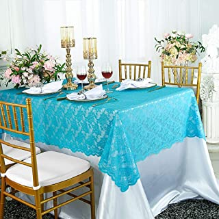 54 in x 108 in Lace Table Overlays, Lace Tablecloths Rectangle, Rectangular Lace Table Overlay Linens, Lace Table Toppers for Wedding Decorations, Events Banquet Party Suppliess - Turquoise