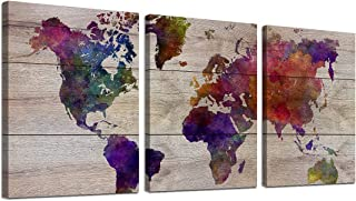 Gardenia Art World Map Wall Art Watercolor Painted Maps on Wood Background Vintage Painting Canvas Prints Large Piece Fram...