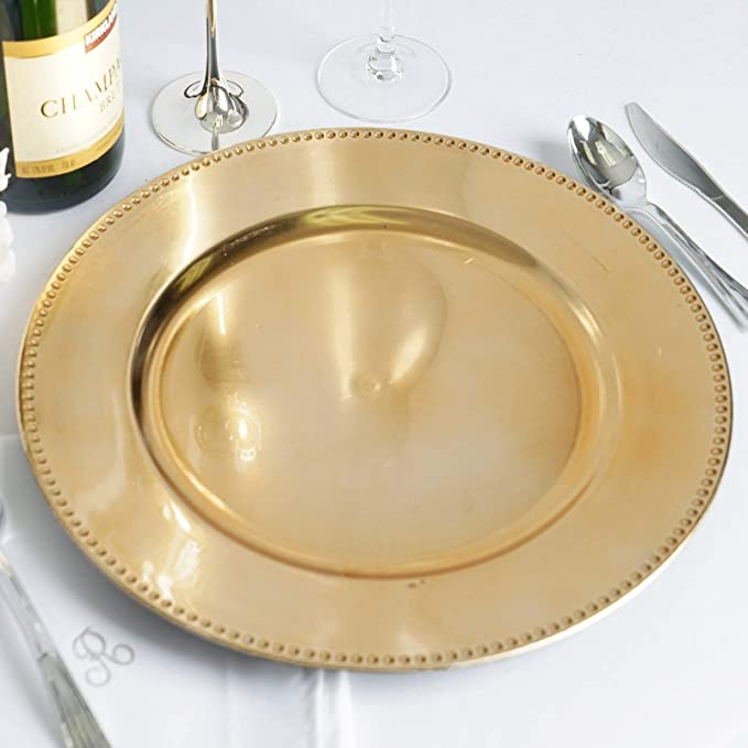 Decorative holiday /& wedding gold scallop glam plate charger 4-piece set