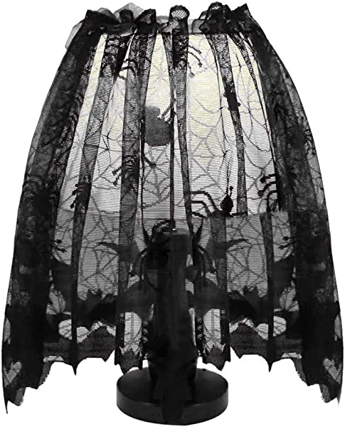 Libobo Halloween Knitted Curtain Lamp Cover Black Spider Bat Lace