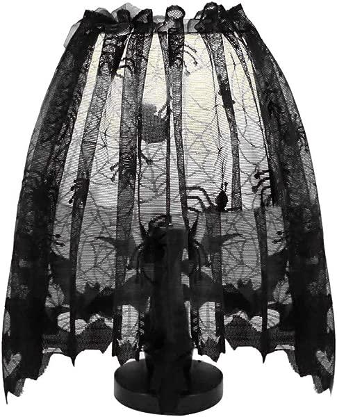 Libobo 万圣节针织窗帘灯罩黑蜘蛛蝙蝠蕾丝
