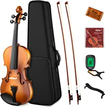 Eastar EVA-330 4/4 Solid Wood Violin Set Full Size with Hard Case, Shoulder Rest, Rosin, Two Bow, Clip-on Tuner and Extra Strings for Students Kids Adults