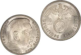 Silver Coin 2 Reichsmark 1937 A - Authentic / Antique / Original Germany Third Reich