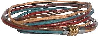 أساور من الجلد الطبيعي 3 التفاف للنساء من برينا، حبل من الجلد سوار متعدد الألوان