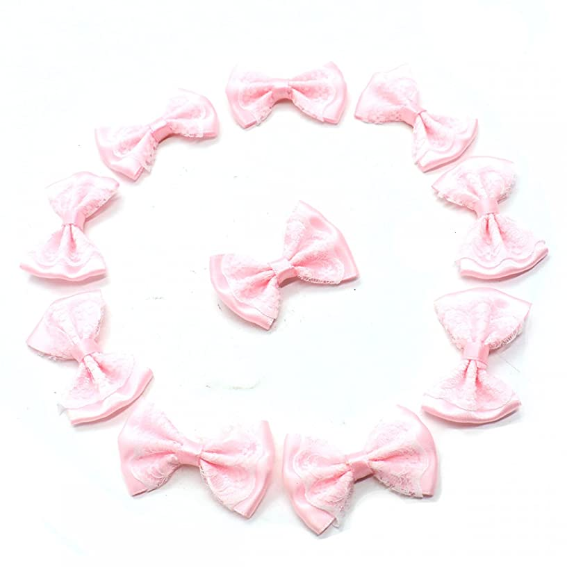HUELE 100pcs Mini Ribbon Bow Tie Shaped Lace Flowers Wedding Ornament Appliques DIY Embellishment Craft Artificial Decoration Ribbon Applique Embellishment (Pink)