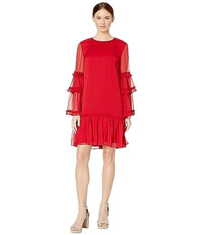 CeCe Long Sleeve Ruffled Yoryu Dress (Ribbon Red) Women