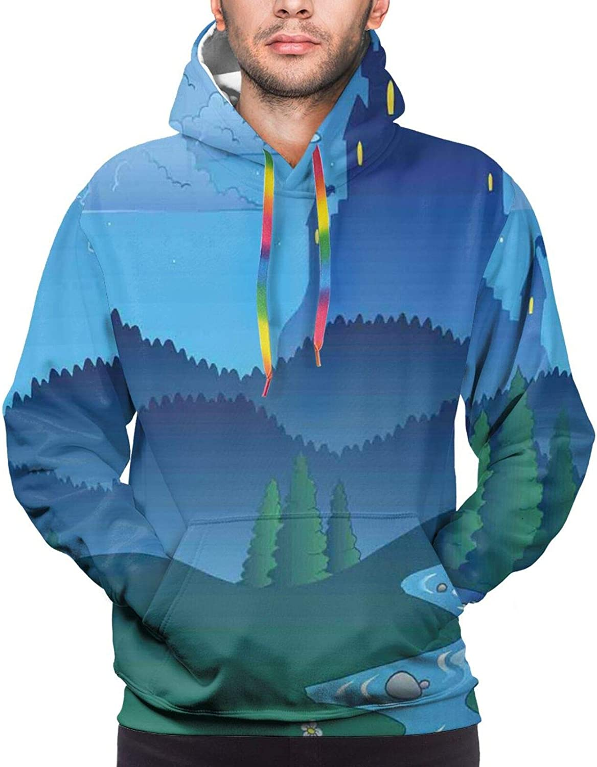 Men's Hoodies Sweatshirts,Lonely Castle On The Hill Beyond The Mountains and Full Moon