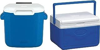 La Rosticceria Coleman 16 Quart Performance Ice Cooler Chest with Rolling Wheels, Blue Bundle with 5-Quart Ice Cooler Chest with Shield and Handle, Blue