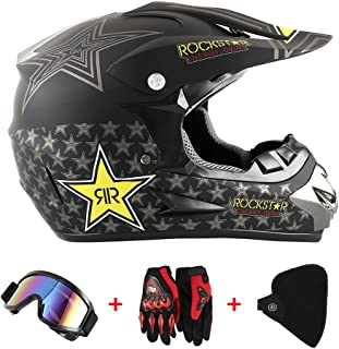 Motocross Helm Motorradhelm Cross Helme Schutzhelm für Motorrad Crossbike Off Road Enduro Sport mit Handschuhe Sturmmaske und Brille 58-59CM Sterne Gelb