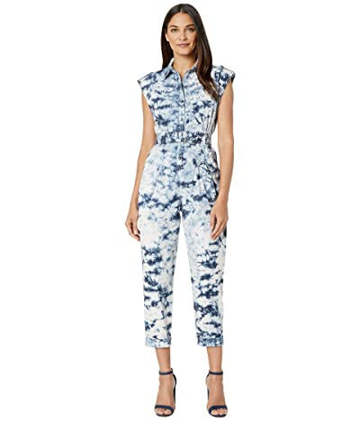 La Vie Rebecca Taylor Sleeveless Tie-Dye Jumpsuit (White/Navy) Women