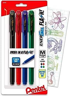Pentel EnerGel FLASH! Liquid Gel Stick Pen, (0.7mm) Medium Line, Metal Tip, Energel Black, Red, Green, Blue Colored Ink, ...