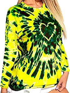 GAGA Women's Round Neck Tie Dye Pattern Print Long Sleeve Loose Casual Tops T Shirts