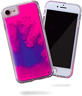 SteepLab Flowing Neon Sand Liquid case for iPhone 8 & iPhone 7 & iPhone 6 - Full Body Protection with Raised Bezel - Blueberry and Pink Glow