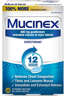 Chest Congestion, Mucinex 12 Hour Extended Release Tablets, 68ct, 600 mg Guaifenesin Relieves Chest Congestion Caused by E...