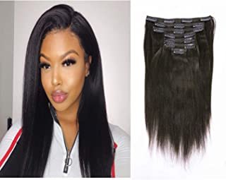 Remy Human Hair Clip In Hair Extensions Yaki Straight Full Head 8A Grade Natural Hair Clip Ins Remy Natural Black African Americans For Black Women 7pcs/set 120g/set 16 Inch
