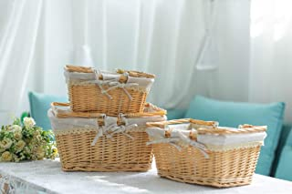 Loffee&sea Wicker Picnic Basket -Set of 3   Wicker Easter Basket   Storage Basket   Willow Country Picnic Basket   Bath To...