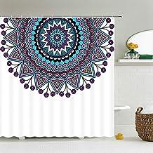 JMHX Retro Indian Mandala Shower Curtain Moroccan Bathroom Curtain Waterproof Polyester Bath Curtain for Bathtub