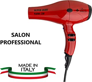 SALON PROFESSIONAL BLOW DRYER NANO LIGHT 5500- White - ITALY HAIR DRYER,1 LB BLOW DRYER BRUSHLESS MOTOR UP TO 10.000 HOURS,LOWER NOISE.