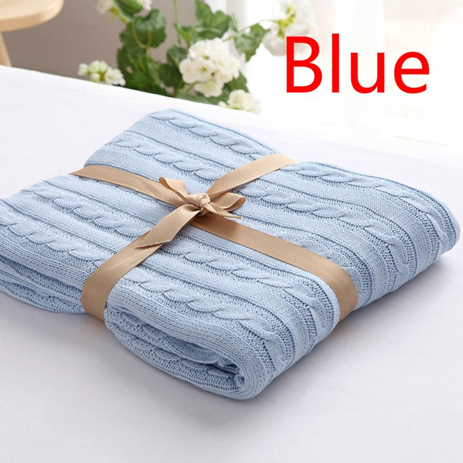 LINFON Handmade Cotton Cable Knit Throw Blanket Crocheted Blanket Cotton Throw Soft Warm Sleeping Cover for Kids or Adults Bedroom Sofa Bed Couch Car Quilt Living Room Office 47.3x70.9inch bluee